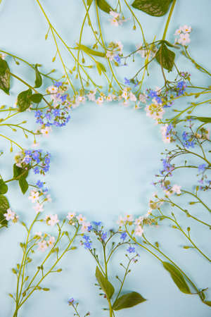Spring round frame made from little blue and white flowers on light mint background. Seasonal blooming card with empty space.