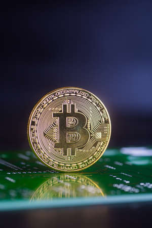 Golden bitcoin on green board with microchips and microcircuits on background. Concept of cryptocurrency, electronic payments and web banking.
