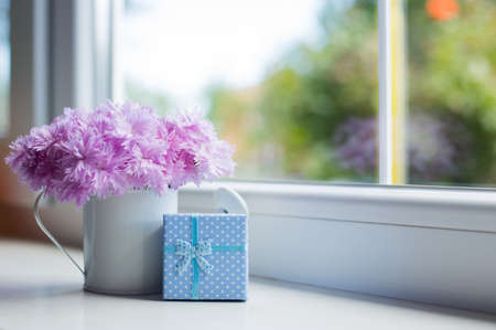 Small white watering can with tender bouquet of beautiful pink carnation and blue gift box near window in daylight. Spring mother's day gift.