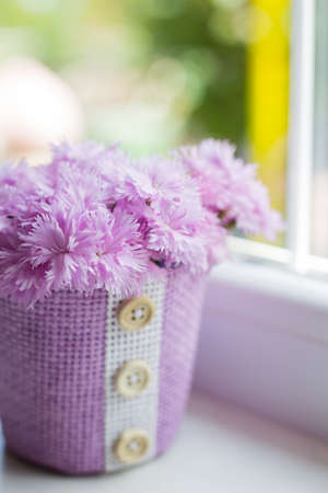 Purple basket with tender bouquet of beautiful pink carnation near window in daylight. Spring mother's day card.