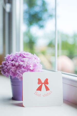 Little purple bucket with tender bouquet of beautiful pink carnation and greeting card with inscription Best wishes near window in daylight. Spring mother's day gift.