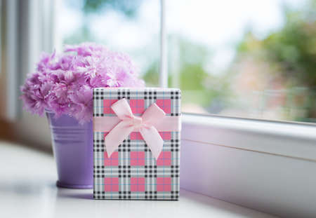 Little purple bucket with tender bouquet of beautiful pink carnation with pink gift box near window in daylight. Spring card.