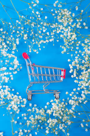 Small supermarket trolley surrounded by white gypsophila flowers on blue background. Concept of spring purchase