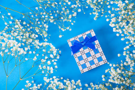 Navy gift box surrounded by white gypsophila flowers on blue background. Concept of Mothers day gift. Stock Photo