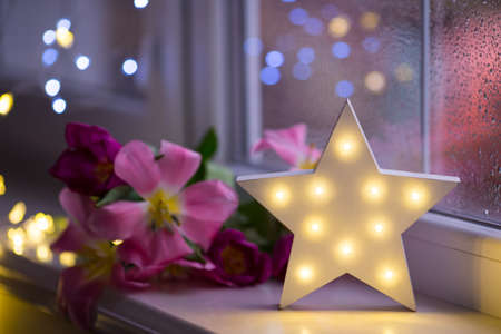 White LED star with pink tulips on warm bokeh background indoor. Festive spring illumination, holiday atmosphere.
