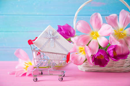 Small supermarket trolley with gift box and tender bouquet of beautiful pink tulips in basket on blue and pink wooden background. Concept of spring purchases.