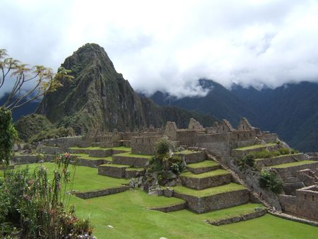 the lost city of the incas: Main Plaza, the ruins of Machu Picchu The Lost City of the Incas Stock Photo
