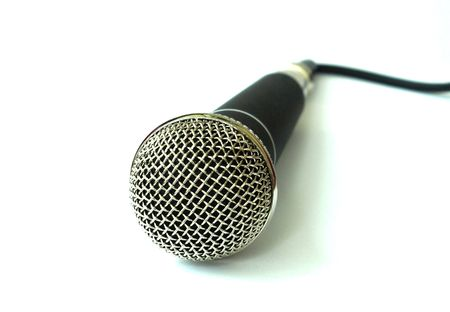 Professional chrome and black microphone on white background