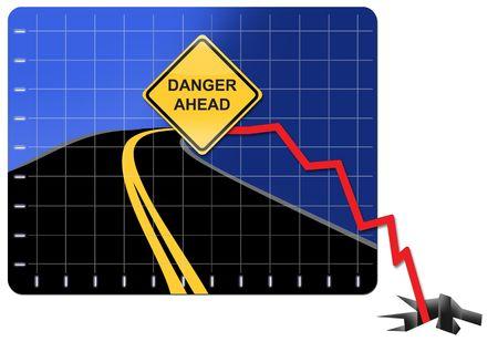 crisis economica: Ilustraci�n que representa la crisis econ�mica y el colapso financiero Foto de archivo