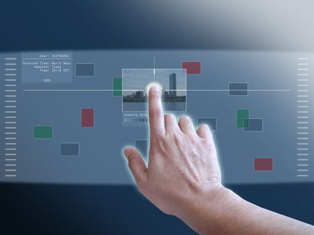 futuristic: A concept of user interaction on a projected touch screen monitor