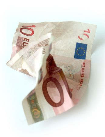 global economic crisis: A damaged 10-Euro bill representing the global economic crisis