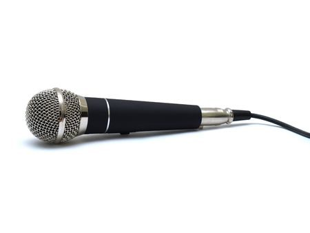 auditory: Professional chrome and black microphone on white background