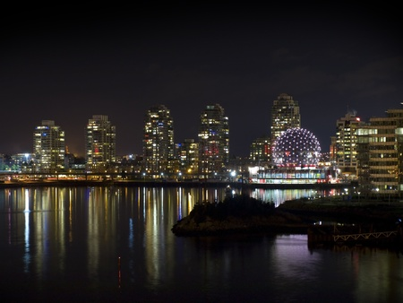globe theatre: City of Vancouver and world of science at night. British Columbia, Canada
