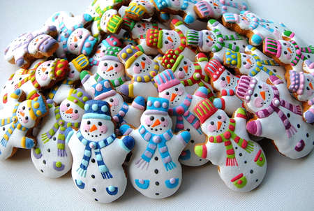 Snowmans , sugar gingerbread for kids Stock Photo