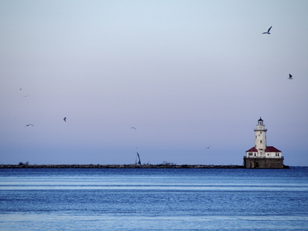 lake michigan lighthouse: Lighthouse in the Michigan lake