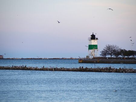 michigan: Lighthouse in the Michigan Lake Stock Photo