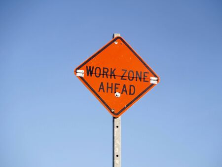 ahead: Sign work zone ahead Stock Photo