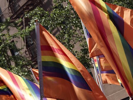 trans gender: Flags in the Gay Pride Parade Stock Photo