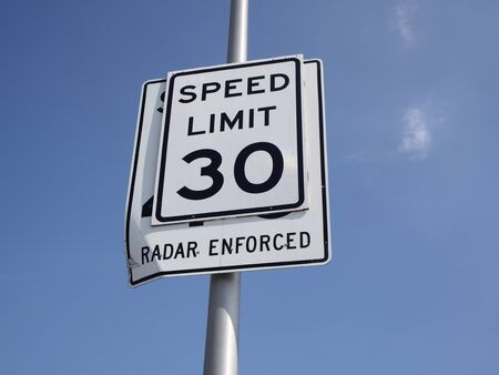 enforced: Sign of speed limit and radar enforced