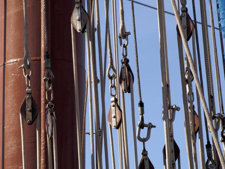 Pulleys of a ship Stock Photo