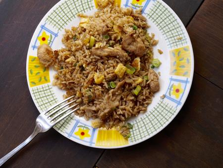 Chicken chaufa rice in a plate Imagens