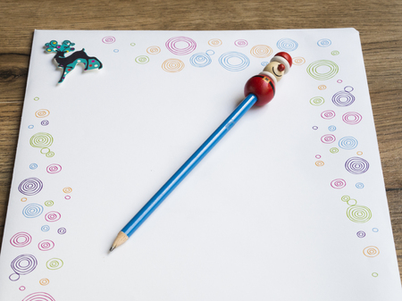 Letter to santa. empty craft paper with blue pencil