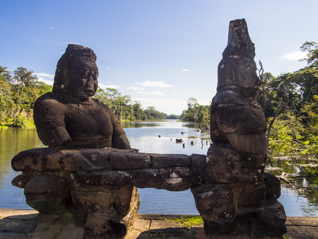 Bayon Temple in Angkor Temples in Cambodia Stock Photo