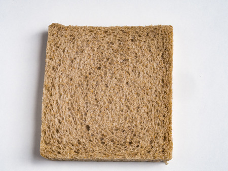 Wholemeal bread without crust on white background