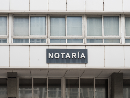 Signboard with the word notary in Spanish Archivio Fotografico - 116626764