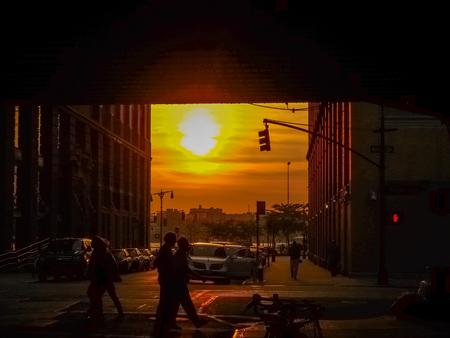 Manhattanhenge in a street in New York Stock fotó