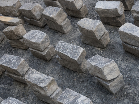 Grey stone bricks ready to place