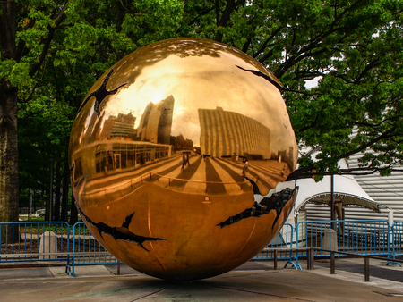 New York - United States, June 25, 2015 - Sphere within sphere Exterior sculpture in the United States in New York City