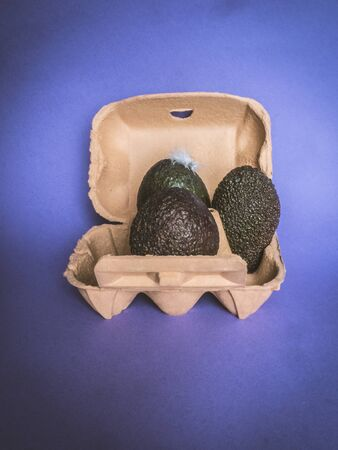Green avocados in egg carton on purple background - It is not seem concept
