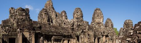 Panoramic of Bayon Temple in Angkor Temples in Cambodia Фото со стока