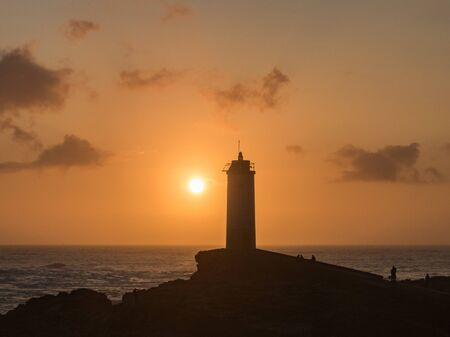 Roncudo lighthouse in the sunset in A Coruna - Spain