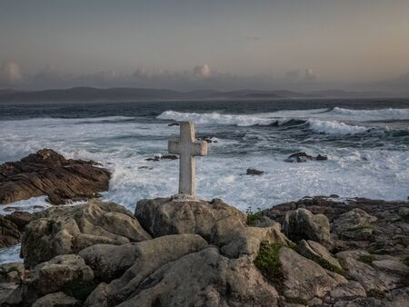 Memorial crosses for men dead in Cape Roncudo  on the coast of death in A Coruna, Spain