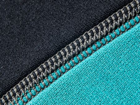 Neoprene stitch macro in black and blue