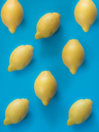 Lemon pattern on blue background