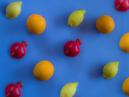Fruit pattern on blue background