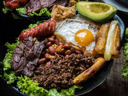 Paisa tray, traditional colombian food