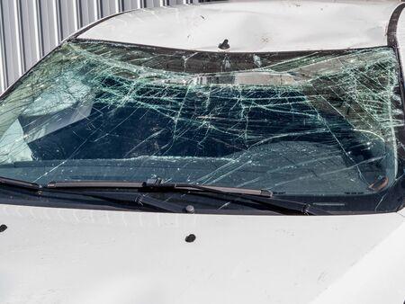 Car with broken windshield