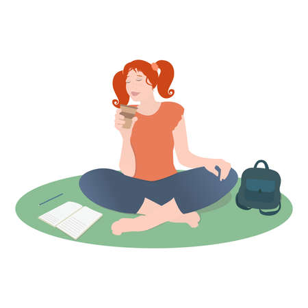 Vector red-haired girl is drinking coffee sitting on the floor, next to her backpack and a notebook