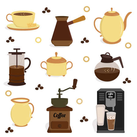 Vector coffe icon set in flat style. Vector illustration for coffee shop, market, cafe design, restaurant menu and recipes.