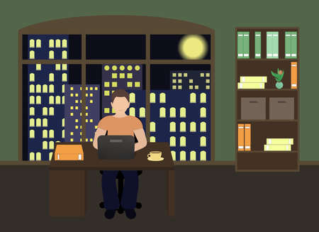 Man sitting at a laptop and working overtime late night. Freelance work. Study at night. Flat vector illustration. Ilustracje wektorowe