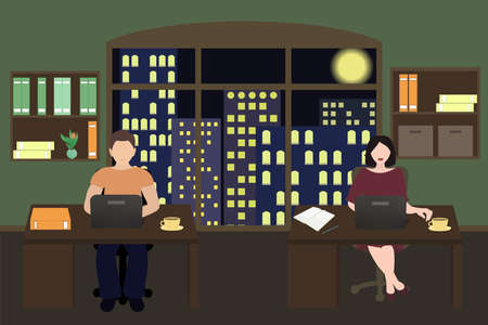 Office people sitting at a laptop and working overtime late night. Freelance work. Study at night. Flat vector illustration. Stock Illustratie