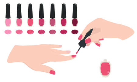 Woman hands doing manicure with nail polish. Beauty and nail salon vector concept. Vector illustration for design. Ilustracja