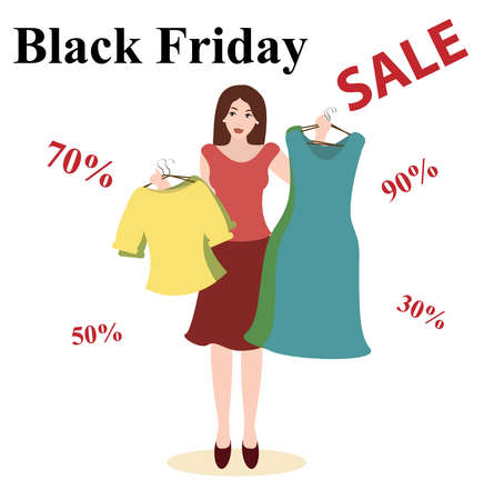 Black friday vector illustration. Sales woman offers discount clothes on sale. Boutique Sale.