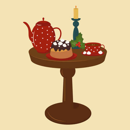 Chocolate cake with marshmallows, teapot, cup of tea and candlestick with holly leaves.
