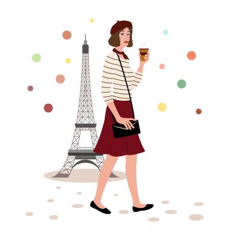 Cute Parisian girl with coffee walking in a Paris near the Eiffel Tower. France Vector Illustration.