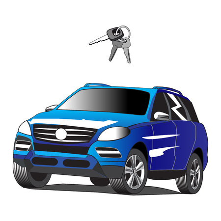 Car suv for rent with car key.  Illustration isolated on white background.